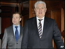 Dmitry Medvedev and Vladimir Voronin