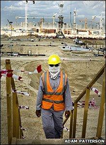 Masked worker in Dubai