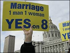 Protesters against same sex weddings in San Francisco, California (05 March 2009)