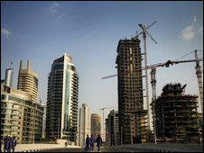 Sky scrapers and cranes in Dubai