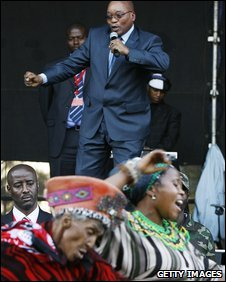 Jacob Zuma singing with supporters