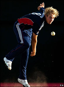 Stuart Broad bowling in St Lucia