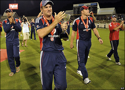 The England team enjoy a lap of honour after ending their Caribbean tour with a trophy