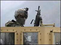 Soldado estadounidense en Afganistán, 3 de abril de 2009.