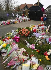 Flowers outside Jade Goody's home