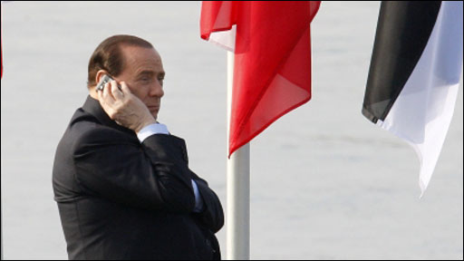 Silvio Berlusconi on the phone