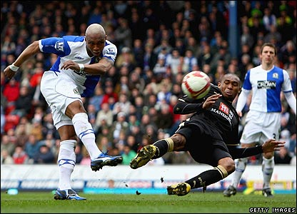 El-Hadji Diouf's effort flies high over the Tottenham crossbar