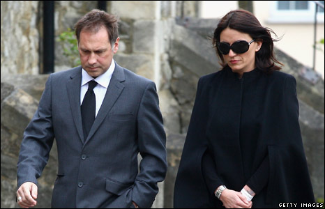 Davina McCall and guest at Jade Goody's funeral