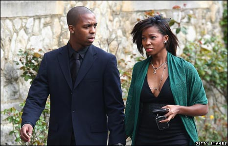 Singer Jamelia with her husband Darren Byfield  at Jade Goody's funeral