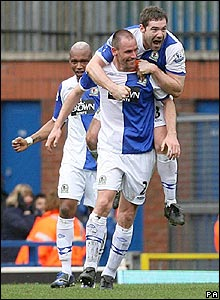 Andre Ooijer celebrates his winner for Blackburn