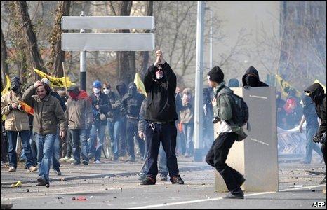 Anti-Nato demonstrators during a demonstration in Strasbourg, France, 4 April