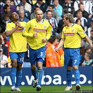 Ricardo Fuller celebrates scoring for Stoke