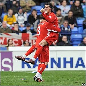 Middlesbrough's Tuncay celebrates after providing the pass for Gary O'Neil to fire home the equaliser