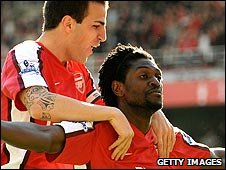 Cesc Fabregas and Emmanuel Adebayor