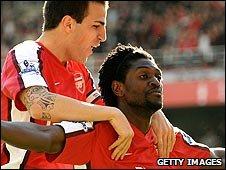 Cesc Fabregas and Emmanuel Adebayor