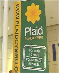 A Plaid Cymru banner