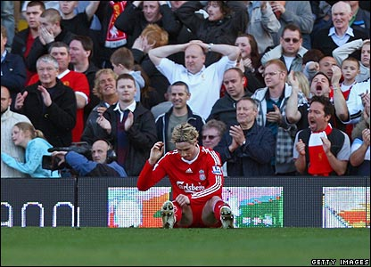 Liverpool's Fernando Torres is frustrated during the first half