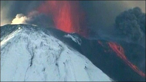 Llaima volcano in full vent