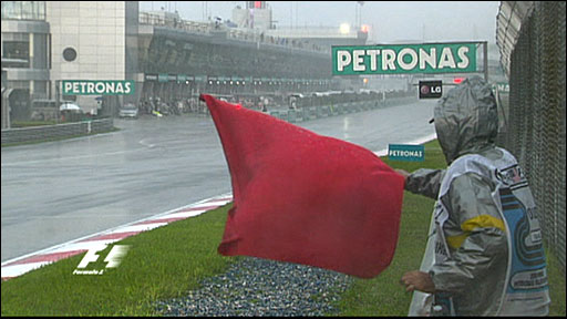 Rain halts the Malaysian Grand Prix