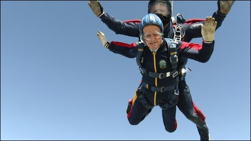 George Moyse during the skydive