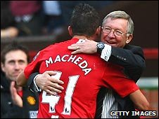Federico Macheda and Sir Alex Ferguson