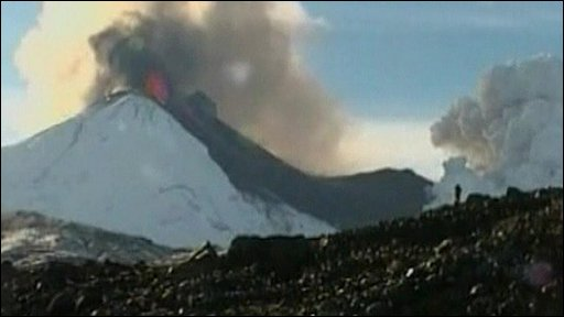 Llaima volcano spewing ash and lava