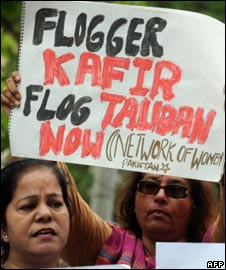 Pakistani women protest in Karachi on April 4, 2009, against the flogging of a woman in Swat