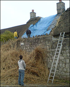 The damaged roof at the Blue Anchor, East Aberthaw
