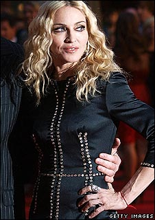 Madonna wearing a red wristband