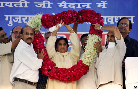 Mayawati at an election rally
