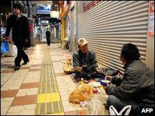 Two homesless men in Osaka