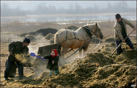 Workers and a child at a farm in Belarus.