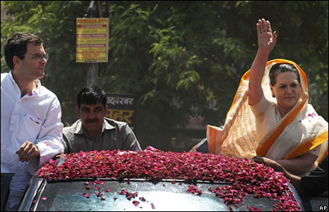 Rahul Gandhi and Sonia Gandhi campaigning in Uttar Pradesh