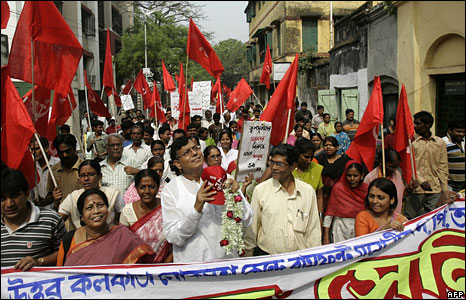 Communist party candidate campaigning in West Bengal