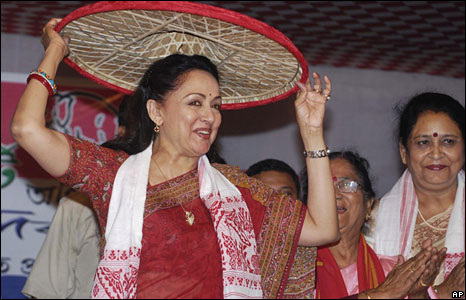 Bolywood star Hema Malini campaigning 