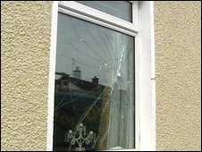 A window was broken at the front Mr McLaughlin's home
