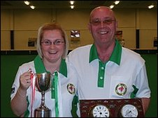 Guernsey's women's captain Lucy Beere and men's captain Steve Desperques