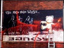 Bbc news uk england bristol paint daubed across for Banksy mural painted over