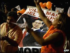 Supporters of former Peruvian president Alberto Fujimori protest at a rally demanding his freedom in Lima, 25 March