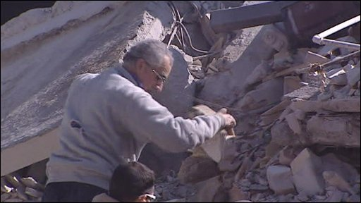 Clearing rubble