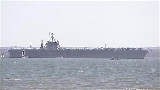USS Theodore Roosevelt warship anchored off Stokes Bay