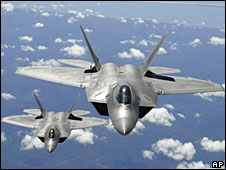 Two US Air Force F-22 Raptors (file picture)