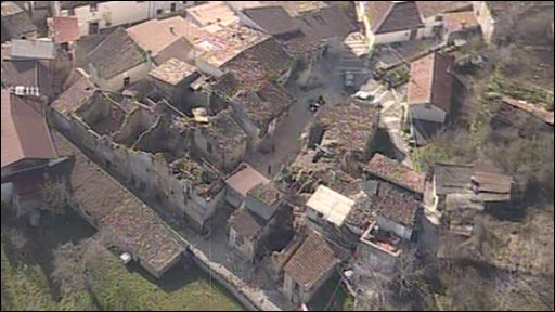 Aerial view of damage