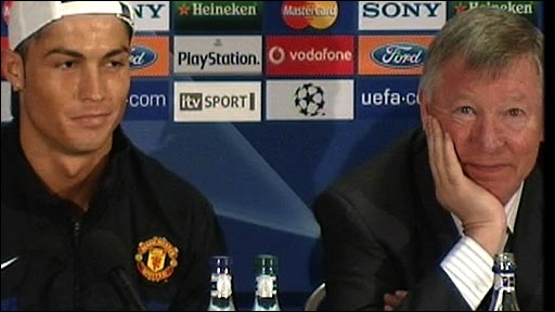 Manchester United forward Cristiano Ronaldo and manager Sir Alex Ferguson