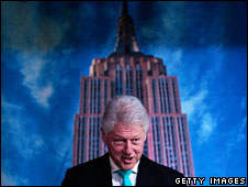 Former US President Bill Clinton anounces plans to reduce energy usage at the Empire State Building