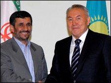 Mahmoud Ahmadinejad, left, shakes hands with his Kazakh counterpart Nursultan Nazarbayev during a meeting in Astana, Kazakhstan, 6 April 2009