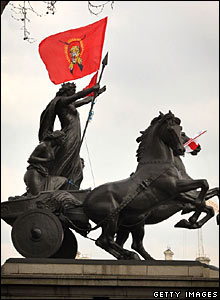 Tamil Tigers flag on statue