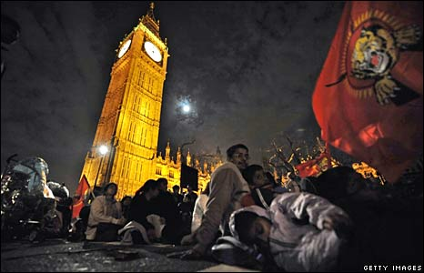 Demonstrators sleep outside the Palace of Westminster