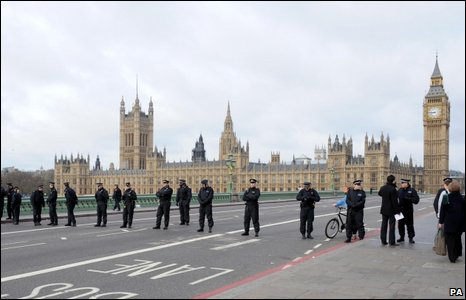 Police on Westminster Bridge