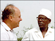 Jean Rouch and Damoure Zika [ Picture by Philo Bregstein, Documentary Educational Resources - www.der.org]